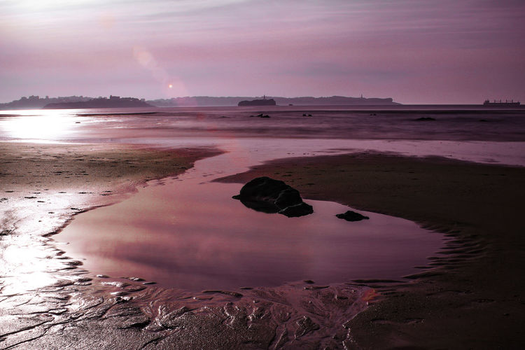 Sunset Sea Beach Water Pink Color Sunny Reflection Sky Horizon Over Water Landscape