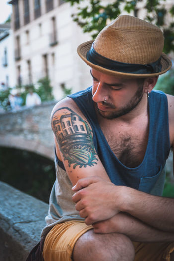 Casual Clothing Couple Day Fedora  Friends Fun Golden Hour Granada Hipster Laughter Love Old Town Outdoors Playful Portrait Smile Sunset Tattoo