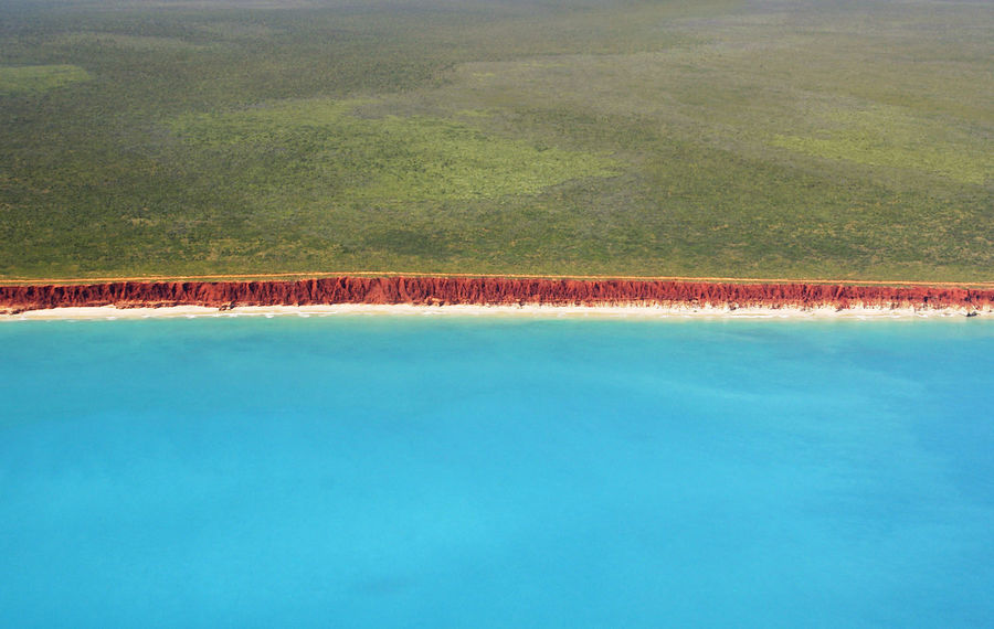Aerial View Beach Beauty In Nature Blue Broome No People Ocean Red Cliffs Remote Scenics Tranquility Tropical Water Western Australia Wild
