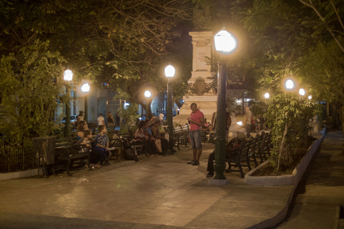 Cuba, noviembre 2016; new and updated photos WIFI Zone Architecture Built Structure Illuminated Large Group Of People Lighting Equipment Monument Night Outdoors Park - Man Made Space People Real People Street Light Tree