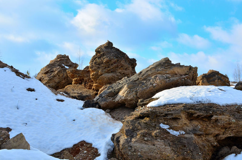 Rock formations on snowcapped mountain against sky