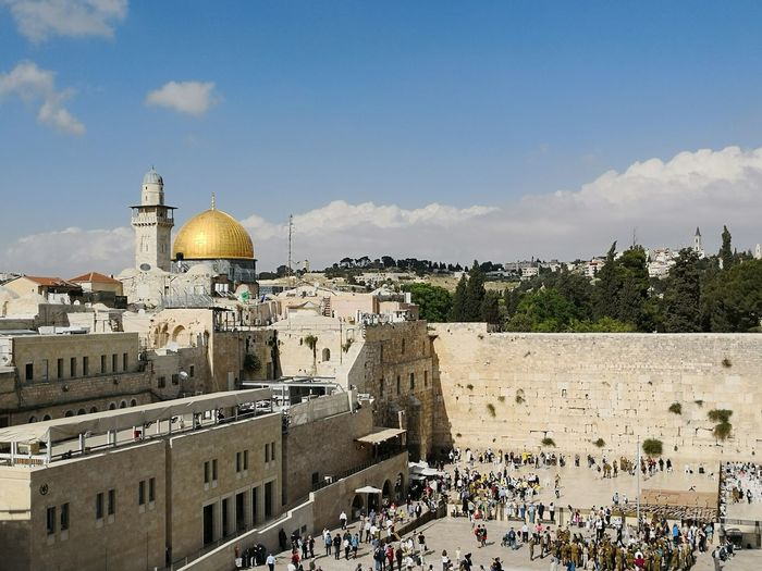 High angle view of the western wall kotel in jerusalem israel with dome of the rock on temple mount