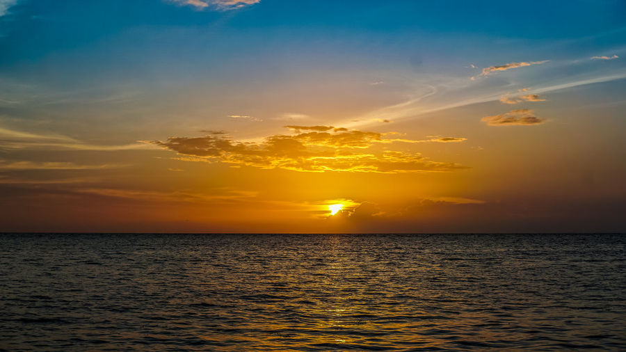 Water Sea Sunset Sky Scenics - Nature Horizon Over Water Horizon Tranquility Beauty In Nature Tranquil Scene Cloud - Sky Idyllic Waterfront Orange Color No People Nature Sunlight Seascape Reflection Sun Outdoors Nicaragua Little Corn Island Hidden Places