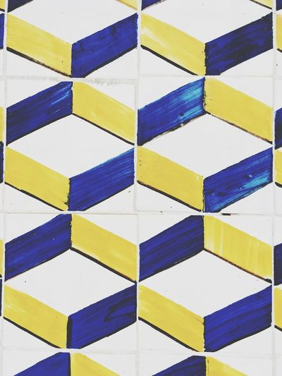 Tiles Tiles Tiled Wall Portugal Backgrounds Full Frame Pattern Multi Colored Geometric Shape Indoors  Design Blue Textured  Yellow