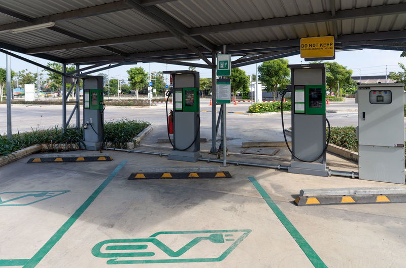 View of empty electric charge station