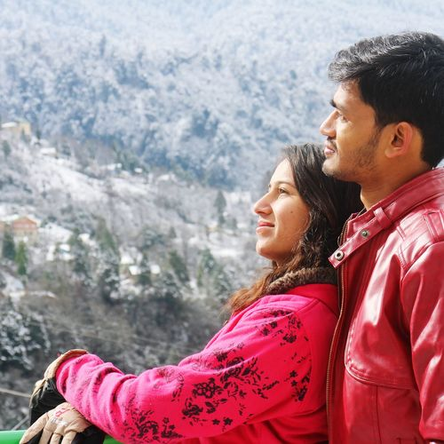 Togetherness Love Two People Adult Bonding Happiness People Adults Only Couple - Relationship Leisure Activity Smiling Side View Winter Outdoors Vacations Impictures ImPHOTO ImPrashant Imphotographer Lifestyles Vacations Portrait Beautiful Woman