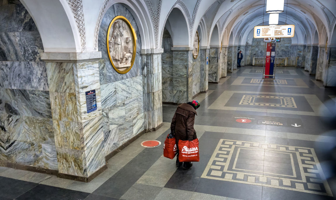 Russia, Moscow, metro station Park Kultury Adult Adults Only Day Full Length Indoors  One Person Only Men People Real People Russia, Moscow, Metro Station Park Kultury Social Issues