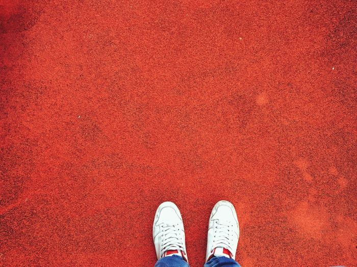 Street Red And White Shoes