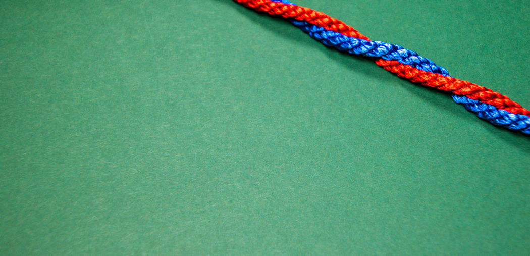 High angle view of ropes on table