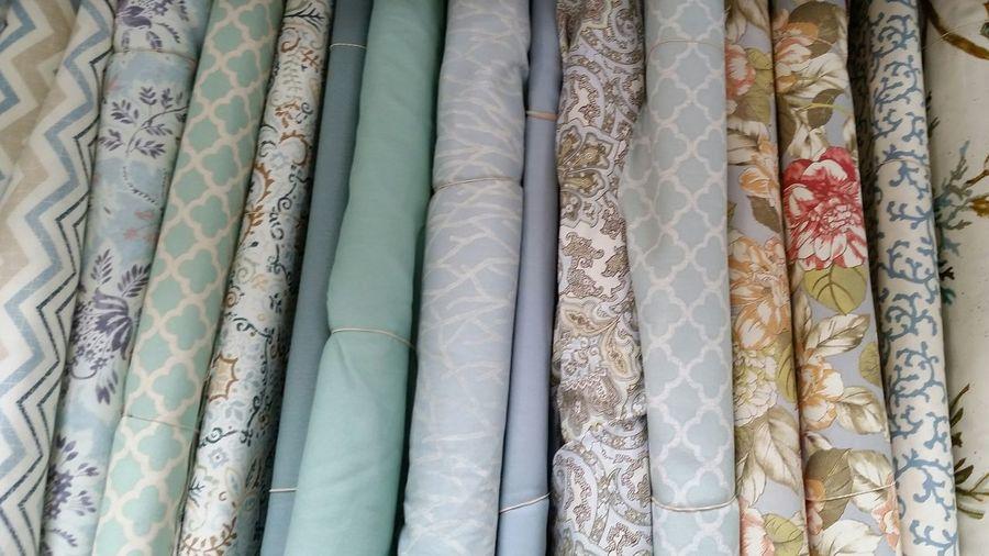 Full frame shot of patterned fabrics at shop