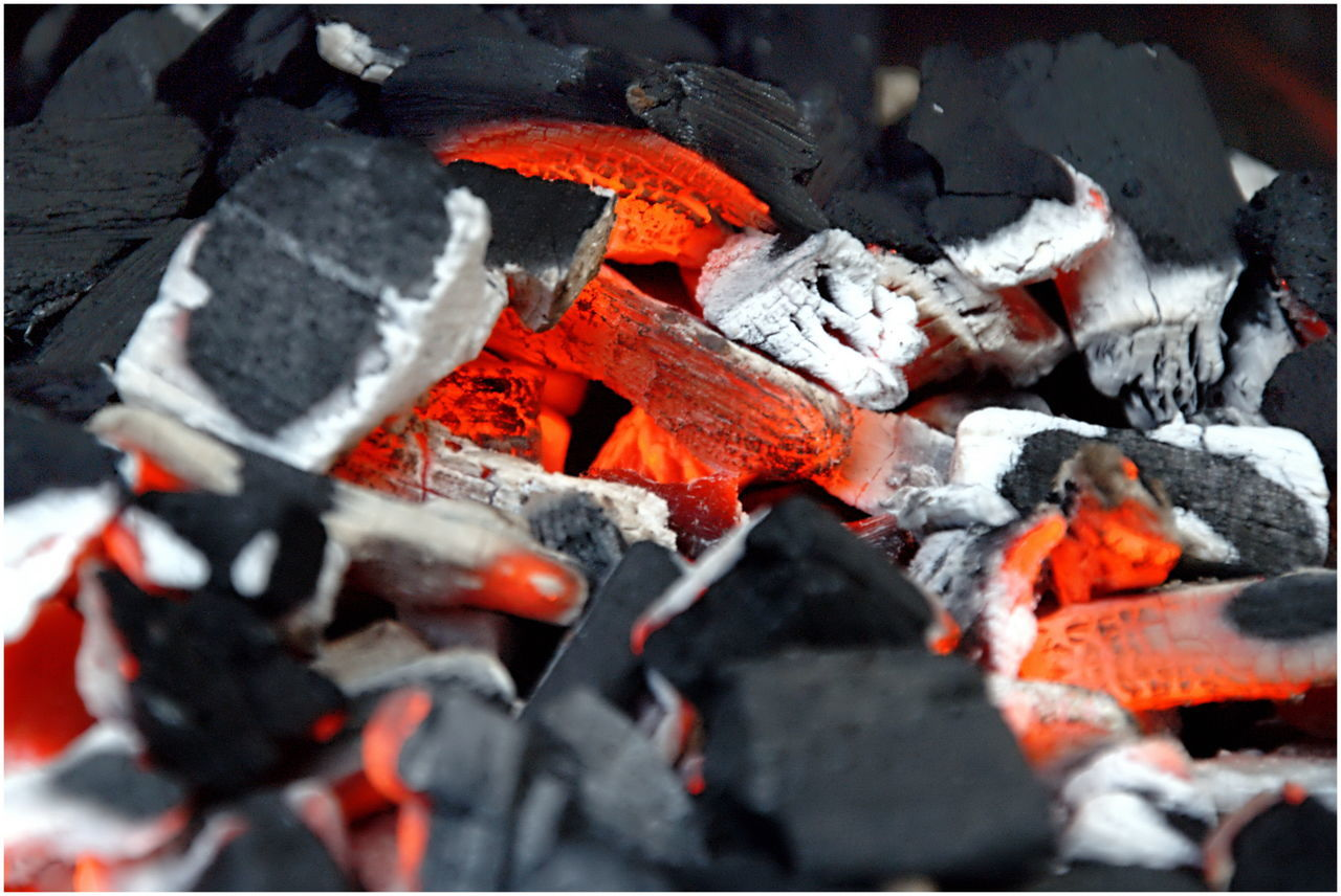 burning, fire, fire - natural phenomenon, heat - temperature, coal, flame, glowing, no people, firewood, orange color, wood, log, nature, barbecue, close-up, burnt, ash, wood - material, full frame, backgrounds, outdoors, bonfire