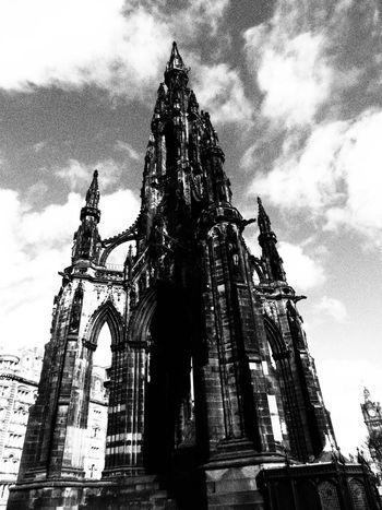 Edinburgh Scott Monument Architecture History Built Structure City Day Blackandwhite
