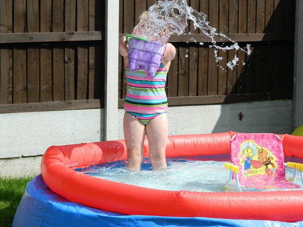 The Essence Of Summer Fun Times Paddling Pool Water Bucket Throwing Water Kids Having Fun Summertime Summer Fun