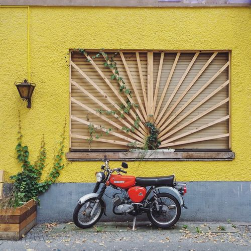 Bicycles parked against yellow wall