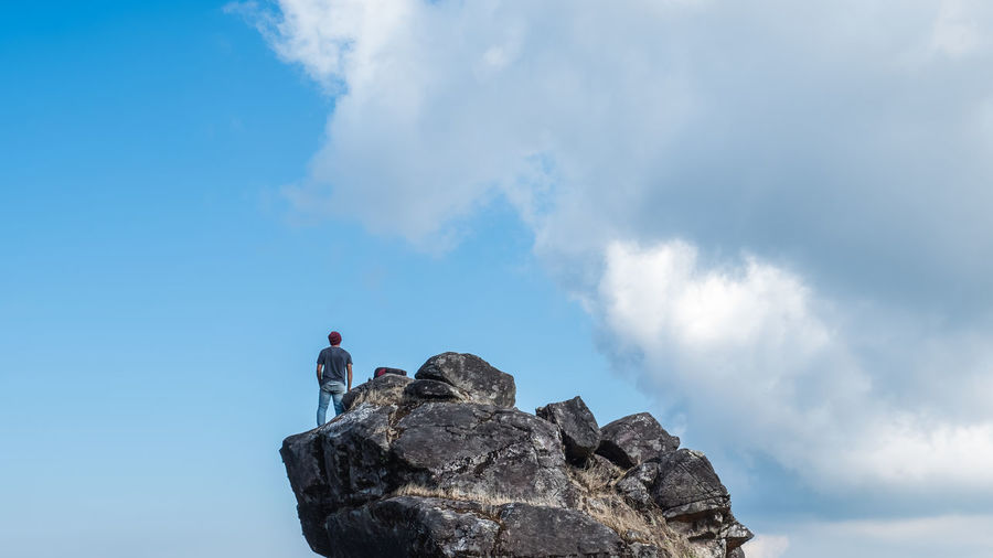 love nature Adventure Beauty In Nature Blue Climbing Cloud - Sky Day Extreme Sports Full Length Hiking Leisure Activity Lifestyles Low Angle View Men Nature One Person Outdoors People Real People Rear View Rock - Object Rock Climbing Scenics Sky