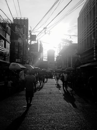 Quiapo Afternoon Quiapo Black And White Manila City Crowd Skyscraper City Life City Street Street Sky Architecture Building Exterior Built Structure Downtown District Pedestrian