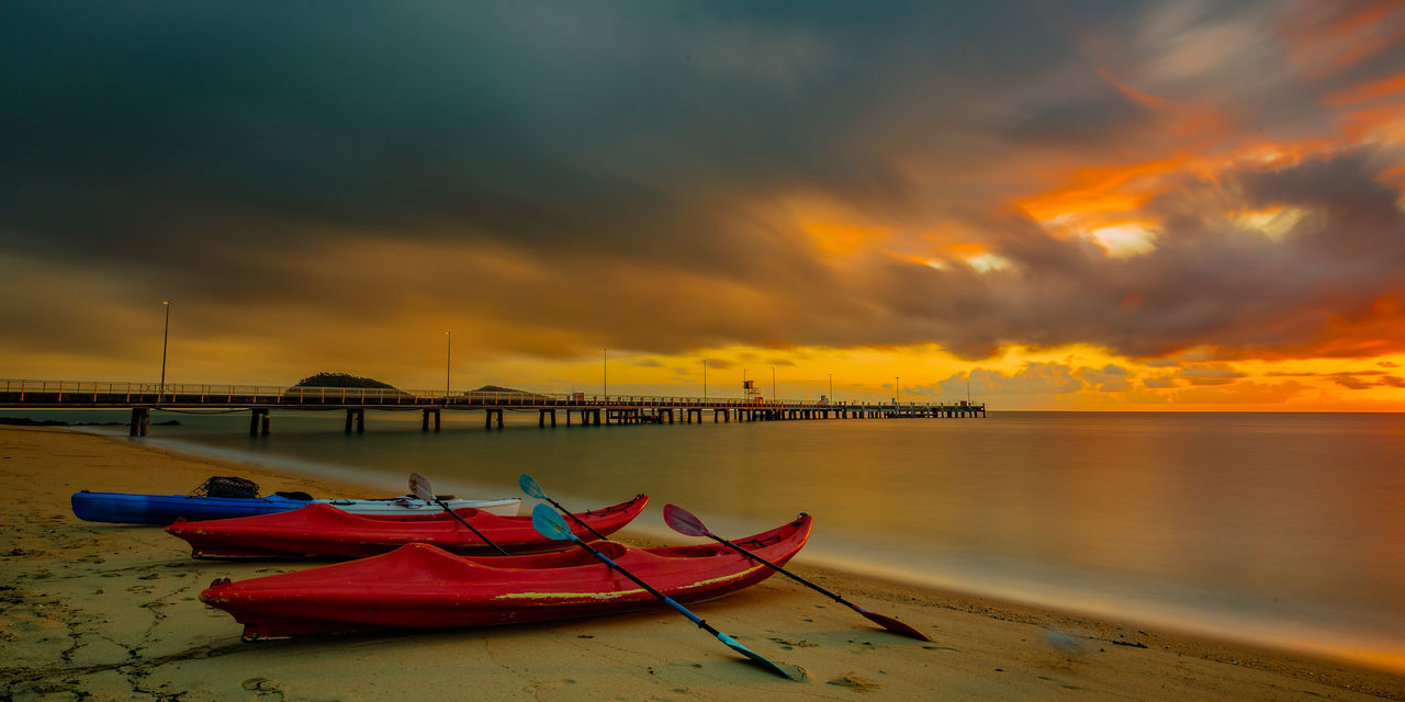 Departure Beach Photography Canoe EyeEm Nature Lover Fine Art Photography Landscape_Collection Nature Nature Photography Sunrise_Collection Beach Beachphotography Beauty In Nature Cloud - Sky Clouds And Sky Eye4photography  Fine Art Kayak Landscape Landscape_photography Nature_collection Orange Color Seascape Sky Sunrise Sunrise_sunsets_aroundworld Second Acts