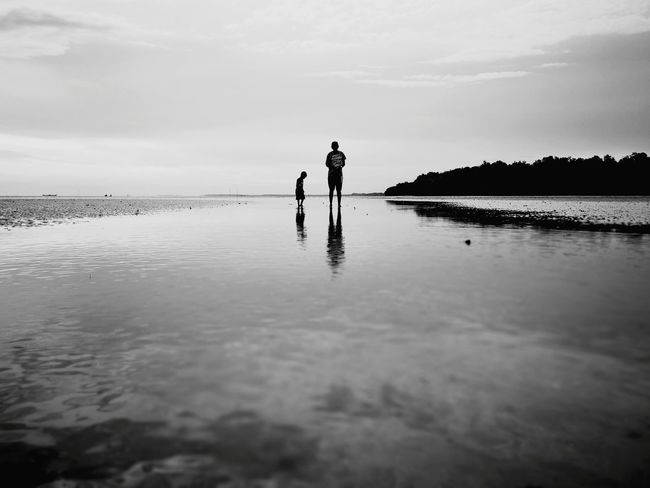 Beach Beachphotography Reflection Two People Adult Standing Outdoors Togetherness Water Cloud - Sky Nature Low Tide Beauty In Nature People Day Childhood Children Father & Son Father And Son Father And Son Time Flection In Water Sky Morib Morib Beach, Malaysia