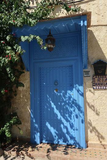 Blue door in