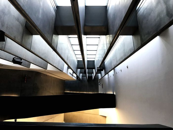MAXXI Indoors  Architecture Ceiling Transportation Built Structure No People Public Transportation Illuminated Wall - Building Feature Rail Transportation Low Angle View Mode Of Transportation Lighting Equipment Empty Pattern Day Metal Reflection In A Row Architectural Column