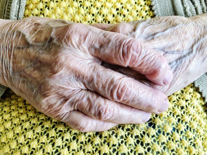 closeup wrinkled hands of a senior person Wrinkles Wrinkled Finger Female Senior Adult Old People Indoors  Rug Wool High Angle View Senior Adult Home Interior Close-up