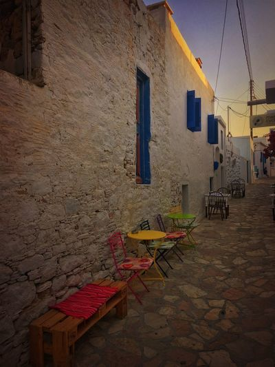 Koufonisia Greece Absence Alley Architecture Building Building Exterior Built Structure City Day Empty House Nature No People Outdoors Residential District Seat Sky Street Table Town Wall