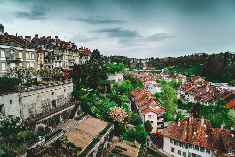 Old City of Bern Architecture Building Exterior Built Structure City Cityscape Cloud - Sky Day Dramatic Sky Fairytale  Heights High Angle View Hill Layers Moody No People Oldcity Outdoors Residential Building Roof Sky Storm Cloud Town Tree Vacations