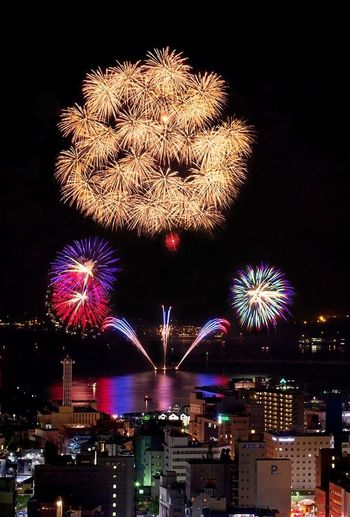 12,000 fireworks flower over Kinko-Bay in the largest fireworks show in all of Kyushu. Tadaa Fireworks Summer