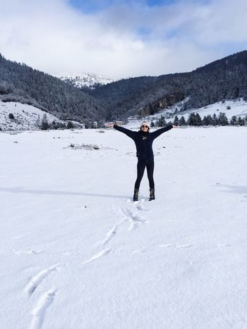 Snow Winter Arms Outstretched Cold Temperature Arms Raised Leisure Activity Mountain