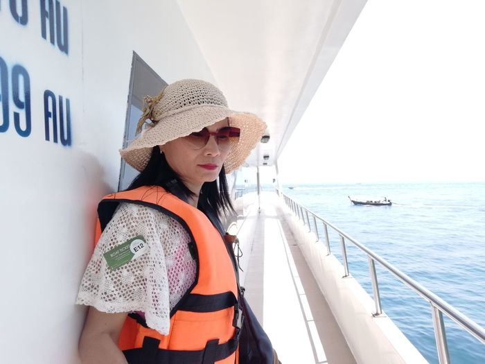 Ferry Trip to Phi Phi Island JiraOn🌏 Real People Hat Day One Person Leisure Activity Clothing Lifestyles Outdoors Water Sea Nautical Vessel Transportation Women Mode Of Transportation Nature Young Women Young Adult Casual Clothing Waist Up Sun Hat