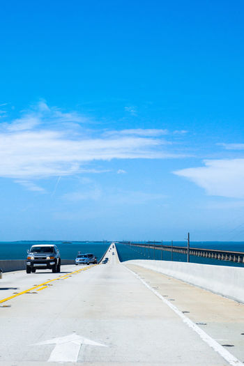 Bridge Cars Engeneering Horizon Over Water Mode Of Transport Ocean On The Way Outdoors Overseas Highway Road Road Sea Sky The Way Forward The Journey Is The Destination