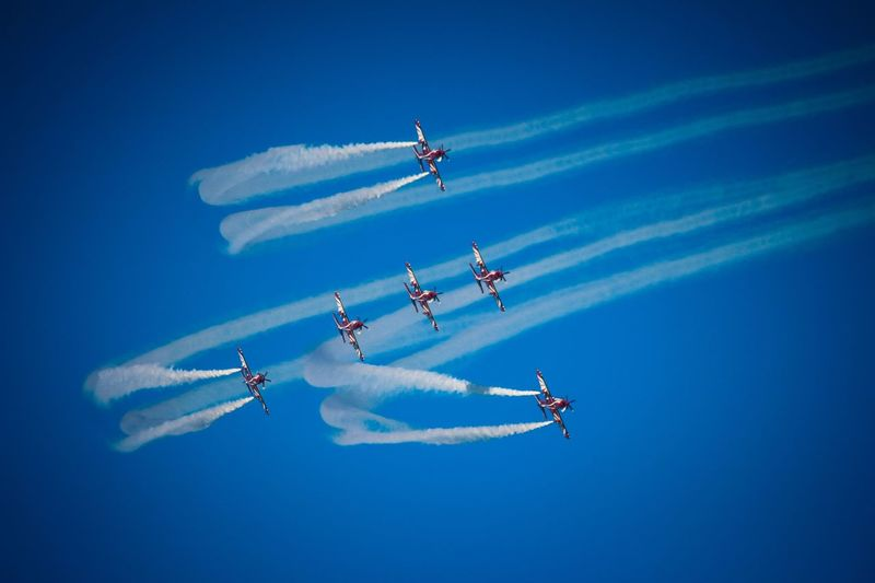 Teamwork Vapor Trail Airshow Smoke - Physical Structure Flying Speed Blue Mode Of Transport Formation Flying Arrangement Transportation Fighter Plane Motion Air Vehicle Mid-air Airplane Skill  Sky Low Angle View Military Airplane