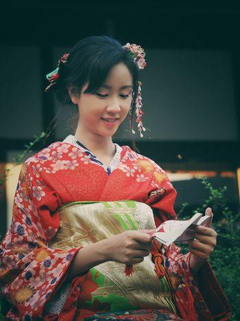 beautiful woman in kimono Japanese Culture Japanese Style Woman In Kimono Red Kimono Woman Smiling Woman Portrait Portrait Of A Woman Adult
