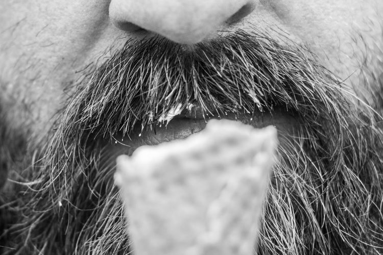 Beard Close-up Human Body Part Ice Cream Moustache One Person