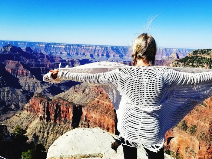 Your Wings Exist National Park Northrim Angelpoint Wanderlust Grand Canyon Art is Everywhere Travel Outdoor Photography Outdoors Traveling Young Women YourWingsAreReal EyeEm Selects The Traveler - 2018 EyeEm Awards Clear Sky Mountain Sky Landscape Famous Place Tourist Attraction  The Great Outdoors - 2018 EyeEm Awards Summer Road Tripping
