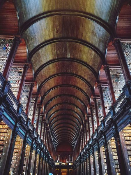 Ceiling Architecture Indoors  History Arch Low Angle View No People Bookshelf Day Book Booklover Library Book Of Kells Trinity College Dublin Close-up Trip Wood Travel Destinations Built Structure Personal Perspective Travel Vacations Architecture High Angle View