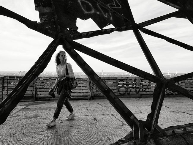 Lifestyles Travel Destinations Teufelsberg Discover Berlin One Person Sky Strength Outdoors Only Women One Woman Only Berlin Photography Cloud - Sky Architecture Black And White Photography Black And White Friday