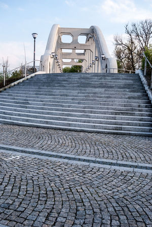 Most Sokolovskych hrdinu concrete bridge with stairs bellow and lamps in Karvina city in Czech republic Czech Republic Darkov Stairs Architecture Bridge Built Structure Concrete Karvina No People Sky