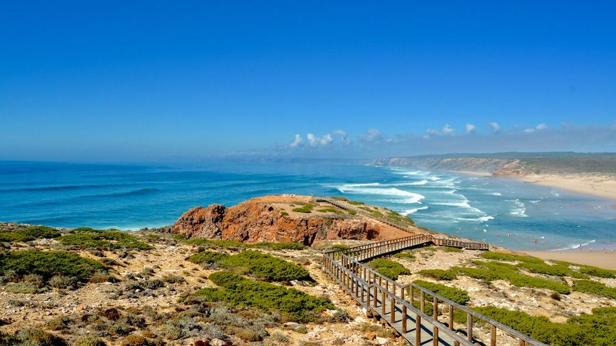 Costa Vicentina Sea Water Beach Land Sky Beauty In Nature Scenics - Nature Horizon Over Water Tranquility Tranquil Scene Day Coastline Idyllic Outdoors Blue
