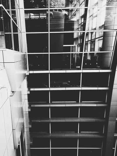 Building with glasses windows. Built Structure Architecture Building Exterior Modern Outdoors City Black & White Black And White Blackandwhite Taken By IPhone SE Edited With Vscocam Reflections Glass Windows Airport Building