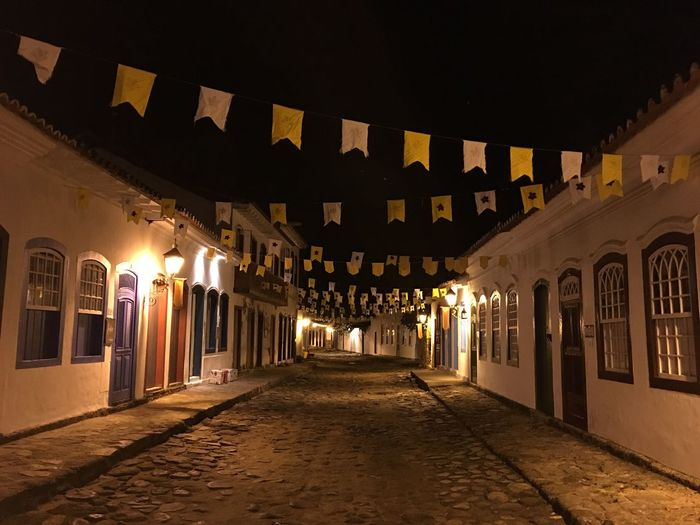 No Filter, No Edit, Just Photography Paraty Street Architecture Built Structure Night Building Exterior Illuminated Building City No People The Way Forward Lighting Equipment Decoration Street Travel Destinations Direction Arch The Past Outdoors