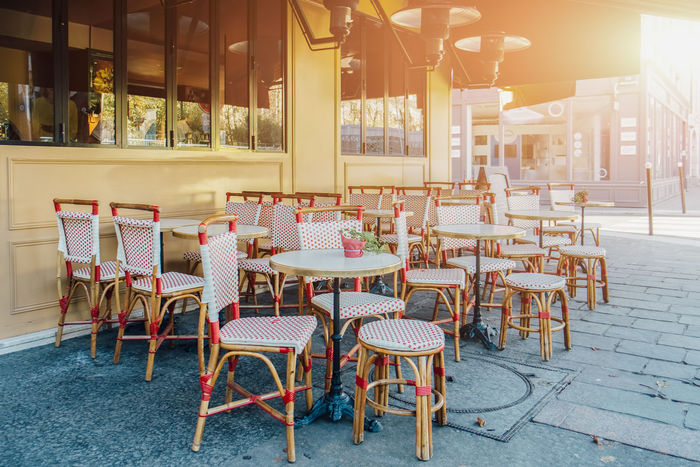 Architecture Bistrot Chair City City Life Day Drink Happy Hour House Modern No People Paris Pub Relaxation Restaurant Street Sunlight Table Urban Lifestyle