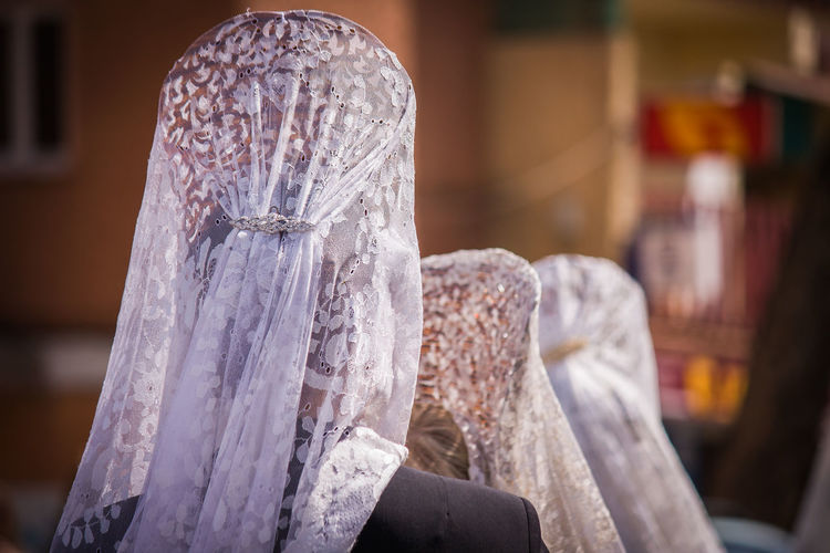 Close-up Day Focus On Foreground Indoors  Lace Veils Religion Spirituality Women