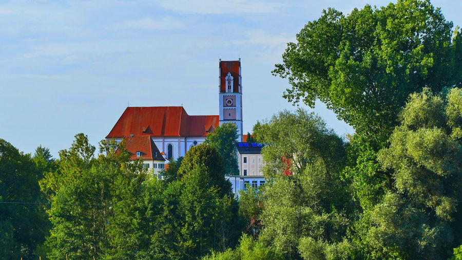 Bavarian Church Bavarian Landscape Architecture Blue Building Building Exterior Built Structure Cloud - Sky Day Green Green Color Growth House Land Nature No People Outdoors Plant Residential District Sky Tower Tree