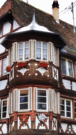 Bay window in timbered house in Alsace, France Bay Window Window Windows Houses And Windows Façade Facades Old House Old Buildings Architecture Timbered House Pattern Creativity Design Living