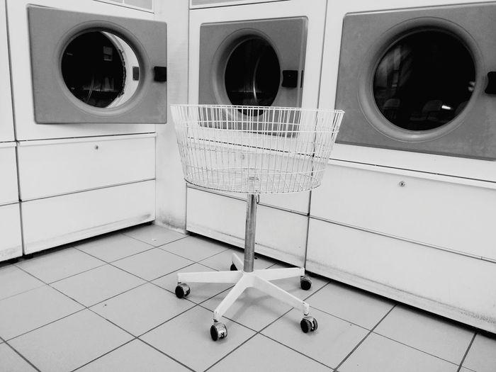 Laundry basket in laundromat