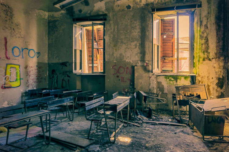 Architecture Window Building Abandoned Indoors  Built Structure No People Table Absence Seat Chair Furniture Messy Damaged Domestic Room Obsolete Wall History House Old Ruined Deterioration Mental Hospital  Classroom
