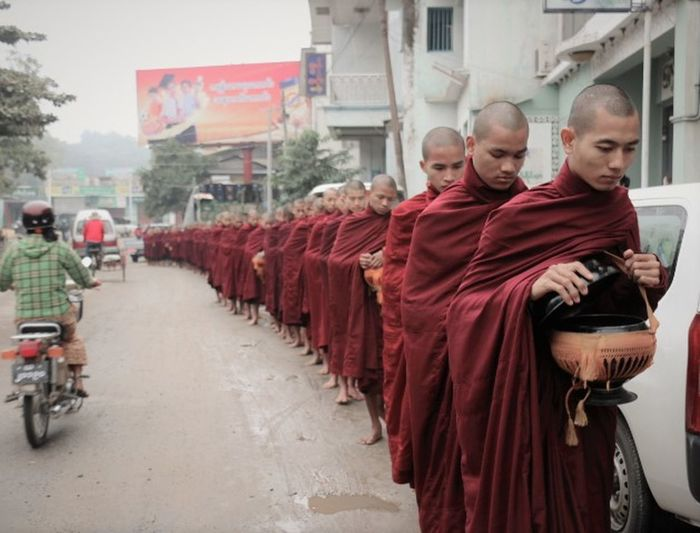 If we could see the end of the line Buddhism Buddhist Buddhist Monks Burma Burmese Humble Monks Myanmar Religion Saffron Robes