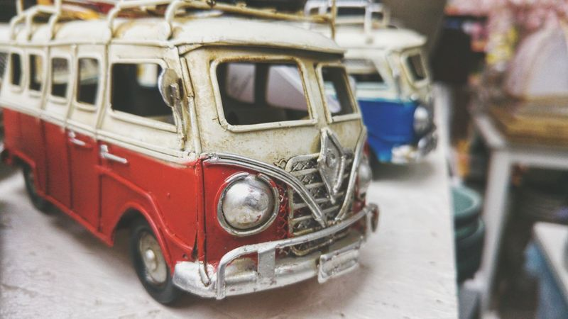 Mode Of Transport Transportation Land Vehicle Vehicle Interior Close-up Stationary Public Transportation No People Day Outdoors Motor Home Hippievan Hippies Wolksvagen Red Car Toys