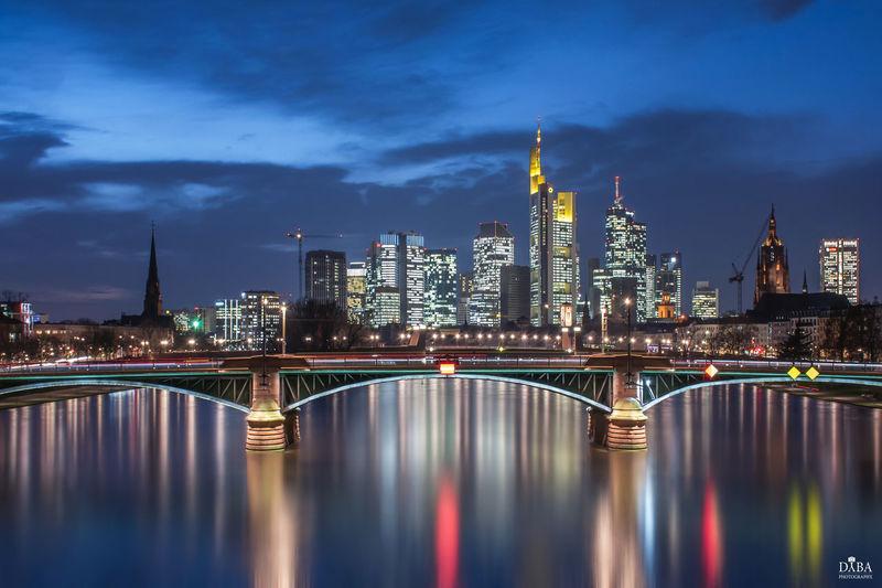 Frankfurt Am Main Skyline Skyline Frankfurt Architecture Bridge Building City Cityscape River Sky Skyscraper Tower Urban Skyline Water